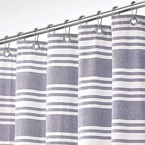 mDesign 棉质条纹面料浴帘,182.88 x 213.36 厘米 *蓝 11558MDSC