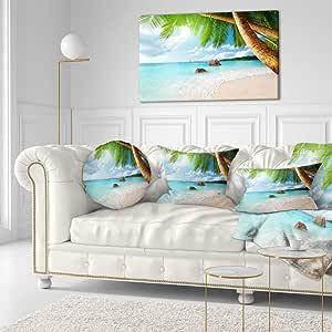 "Designart Praslin Island Seychelles Beach Seashore 照片帆布打印 绿色 40x20"" PT9399-40-20"