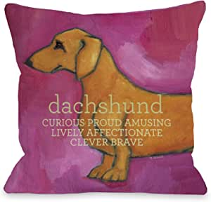 Bentin Pet Decor Dachshund Pink Pillow, 26 by 26-Inch