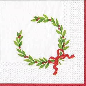 娱乐 Caspari 圣诞月桂花环鸡尾*餐巾,20 件装