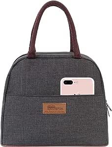 HOMESPON 午餐袋保温手提袋午餐盒可重复使用的冷藏袋午餐盒防水午餐盒适用于女士/男士 standard size pure grey