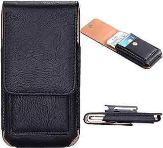 floveme 高级磁性钱包 PU 皮革360度旋转夹式腰跨包翻盖收纳袋便携包 黑色 iPhone 5.5''