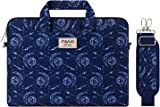 MOSISO 筆記本電腦單肩包帆布圖案公文包 內膽包帶后背手推車皮帶 13-13.3 Inch