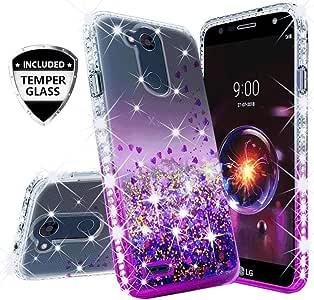 适用于 LG X Power 3 保护套、LG X5 2018 保护套、LG X Charge 2 保护套、带【Temper 玻璃屏幕保护膜】SOGA 钻石液体防摔保护壳可爱女孩女士手机套 Clear/Purple