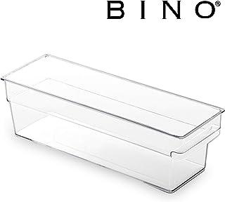 BINO 透明塑料收纳箱,内置拉出手柄 透明 SHALLOW - SMALL - 12X4X4 12111-CLR