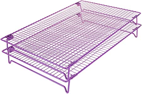 Cool The Cake Down | 1 or 2 pcs Food Grade Non-Stick 17x11 inches Steel Multi-Tier Grid Wire Cooling Rack for Baking, Good for Cake, Cookie, Bread, Other Baked Food, Stable Legs, Oven Safe, Purple 紫色 2 PCS