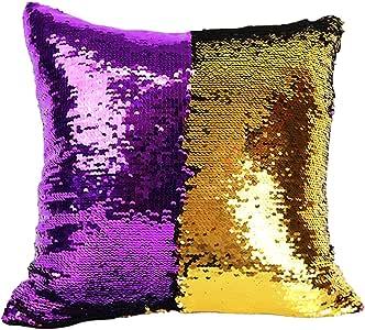 "Just Artifacts 15"" 方形颜色开关闪亮美人鱼亮片抱枕枕套/盒 Purple/gold 15""x15"""