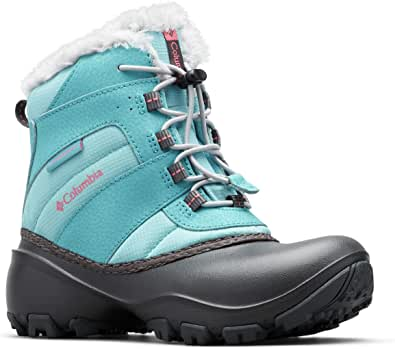 Columbia Girls' Youth Rope Tow III Waterproof Low Rise Hiking Boots, Turquoise (Iceberg, Camellia Rose 341), 1 33 EU