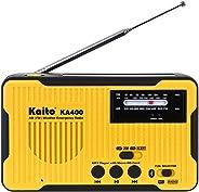 Kaito Voyager Scout 应急收音机 KA400 AM/FM NOAA 天气报警 5 向供电太阳曲柄无线电接收器,带蓝牙,MP3 播放器,LED 手电筒和 USB 手机充电器