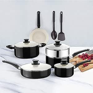 COOKSMARK 白色陶瓷不粘锅厨具套装,铝制锅和锅套装带蒸锅插头和 2 个尼龙烹饪用具,12 件,黑色