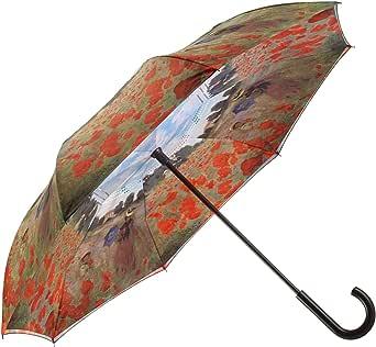 Galleriaâs 反向封闭雨伞,莫奈,罂粟田,两面均有艺术图案。