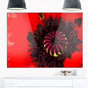 "Designart MT13828-271 夏天全景花花园 - 花光面金属墙壁艺术 红色 28x12"" MT13828-28-12"