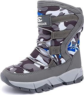 JINKUNL 儿童冬季保暖雪地靴户外毛皮衬里轻质及踝靴运动鞋,适合女孩男孩
