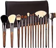 ZOREYA(TM) 化妆刷 15 支高端真核桃手柄化妆刷套装 - 免费深棕色皮革刷盒带轮廓粉底刷套装
