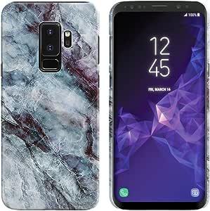 FINCIBO 手机壳,后盖硬质塑料保护套时尚设计三星 Galaxy S9 Plus/ S9+ 6.2 英寸 - 蓝绿色 V 形图案 Nebula Blue Black Marble