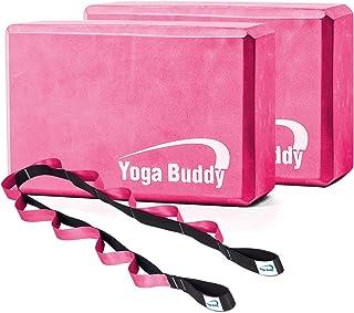 Roller Buddy 瑜伽块伸展带套装 - 瑜伽块2件装,带物理*设备伸展带,瑜伽带,瑜伽配件