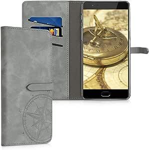 kwmobile OnePlus 3 / 3T 钱包式手机壳 - 面料和 PU 皮革翻盖带卡槽和支架 - 黑色/棕色47050.01_m000570 .Navigational Compass grey