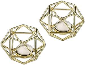 婚礼宝贝婚礼派对派对喜爱,时尚 10.16 厘米金色几何图案六角形茶灯烛台 金色 1 8748