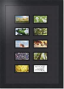 ArtToFrames 拼贴照片框双垫,带 10 个开口和黑色缎框。 黑色 10-2x3.5 Double-Multimat-404-89/89-FRBW26079