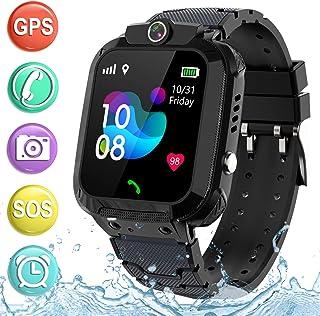 儿童智能手表 GPS 追踪电话 - 2019 新款防水儿童智能手表 1.4 英寸触摸屏 SOS 电话通话对讲机步行计步器健身运动表带 适合年龄4-12 岁男孩女孩PTH S12 GPS  S12 GPS Waterproof Black
