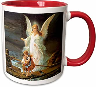 3drose angels–守护天使–马克杯 红/白色 11-oz Two-Tone Red Mug