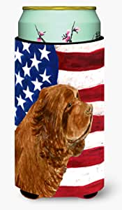 USA American Flag with Sussex Spaniel Michelob Ultra Koozies for slim cans SS4037MUK 多色 Tall Boy