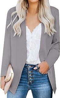 Luvamia 女式休闲长袖翻领纽扣修身工作办公室外套