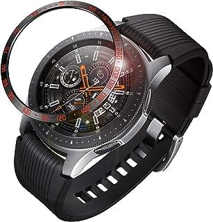 Fintie 包邊戒指適用于 Galaxy 手表 46mm & Gear S3 Frontier & 經典不銹鋼保護殼表圈環膠蓋配件適用于 Galaxy Watch 黑色和紅色