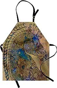 Ambesonne 数码印花多色围裙 KHAKI 蓝色 Adult Size apron_19519