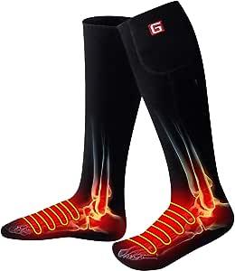 QILOVE 电加热袜 电池供电 男士 女士 冬季 户外狩猎 滑雪 远足 保暖 棉 保暖袜 礼物 均码 黑色 QL-cibs3.7M-03366