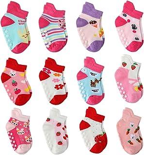 6 双装童装防滑脚踝短袜带抓扣低帮女婴防滑袜