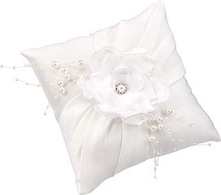 Lillian Rose RP776 优雅白色缎面戒指枕头,9.53 x 18.42 x 18.42