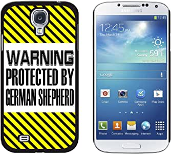 Graphics and More Warning Protected By German Shepherd Snap-On Hard Protective Case for Samsung Galaxy S4 - Non-Retail Packaging - Black
