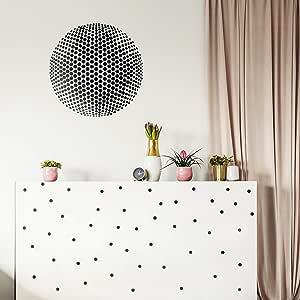 """乙烯基墙壁艺术贴花 - 同轴圆点 - 58.42 cm x 58.42 cm - 现代城市家庭公寓工作场所图案装饰 - 适用于客厅、卧室、办公室贴花 黑色 23"""" x 23"""" CNCENTRCCRCLES"""