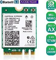 正品 Intel AX200NGW Wi-Fi 6 11AX WiFi 模块 2 x 2 MU-MIMO 双频无线卡,带蓝牙 5.0 内置 WiFi 适配器支持 Windows 10 64 位,M.2/NGFF