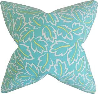 "The Pillow Collection Kateri Foliage Euro Sham 蓝绿色 蓝绿色 European/26"" x 26"" EURO-ROB-BAJALEAVES-TURQUOISE-P"