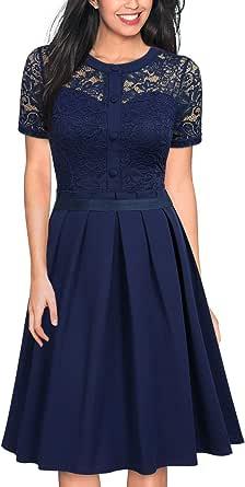 MISSMAY 女式复古 20 世纪 50 年代风格 3/4 袖黑色蕾丝喇叭 A 字连衣裙