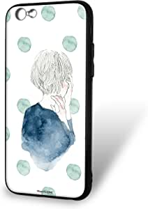 卡丽 壳 玻璃印刷 TPU 女孩和圆点 智能手机壳 对应全部机型 女の子とドットC 1_ iPhone6s