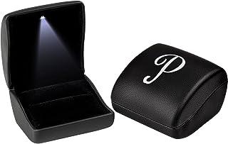 ANDREW FAMILY 黑色交织字母首饰礼品盒带 LED 灯用于戒指 P 並行輸入品