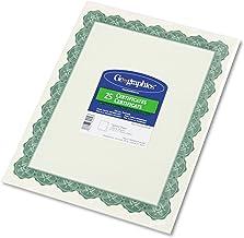 Geographics 39452 羊皮紙證書,8-1/2 x 11,Optima 綠色邊框,25 個/包