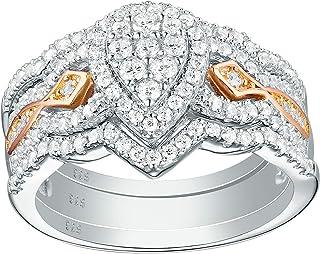 Newshe Pear 新娘订婚结婚戒指套装女士玫瑰金 Cz 925 纯银 尺寸 5-10