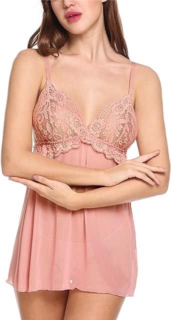 Diaper 女式蕾丝拼接 V 领睡衣透视迷你连衣裙睡衣套装 粉红色 Small