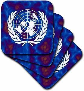 3dRose United Nations Flag - Soft Coasters, Set of 4 (cst_204515_1)