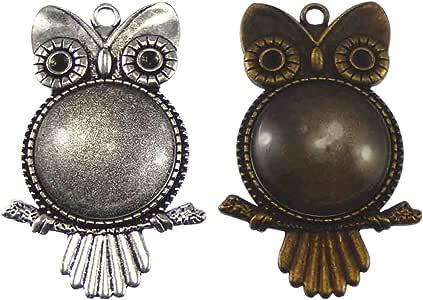 各种古董猫头鹰动物镶嵌吊坠托盘边框空白首饰制作. Popular 2 owls #4 owls