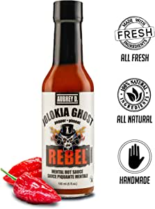 Aubrey D. Rebel Jolokia Ghost Hot Sauce, Hottest Natural Pepper in the World Flavor for Meat, Chicken