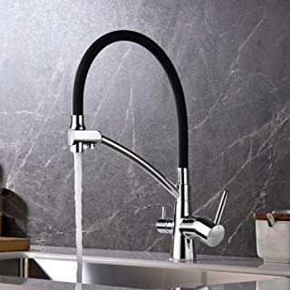 Ibergrif M22128-2,黑色厨房水龙头带弹性喷嘴,3 合 1 喷头,适用于水槽混合器和滤水净器,镀铬,银色