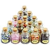 SUNYIK 滚磨碎碎石许愿瓶套装,水晶* Reiki Wicca 宝石套装 #1-9 Mini Bottles(vary Stone) SUNZm70