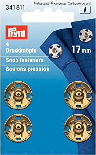 Prym 17 毫米缝纫按扣,4 件装,黄铜金