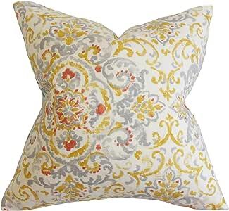 "枕头系列 Halcyon 花卉 欧式枕套 灰色 黄色 灰色/黄色 European/26"" x 26"" EURO-D-QUENTIN-PLATINUM-C55L45"