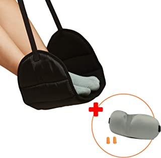 Vter - 飞机脚踏吊床 + 眼罩*海绵,可调节高度 - 便携式旅行配件,舒适长途飞行(黑色)